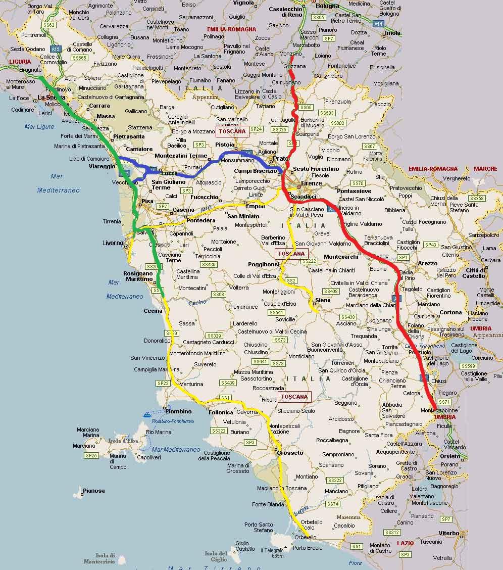 toscana térkép Toszkána Mánia   Toszkána főbb útvonalai toscana térkép